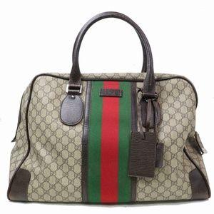 Auth Gucci Boston Bag Light Brown #920G32